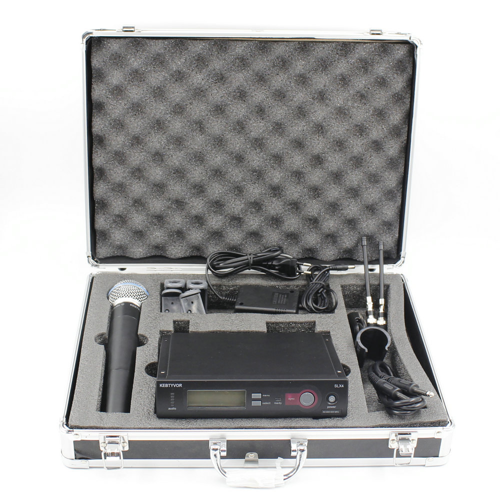 Aluminum Case Box SLX24 BETA58 UHF Wireless Microphone Cordless Karaoke System With Handheld Transmitter Mic free shipping uhf professional s24 b 58 wireless microphone cordless karaoke system with handheld transmitter band r5 800 820mhz