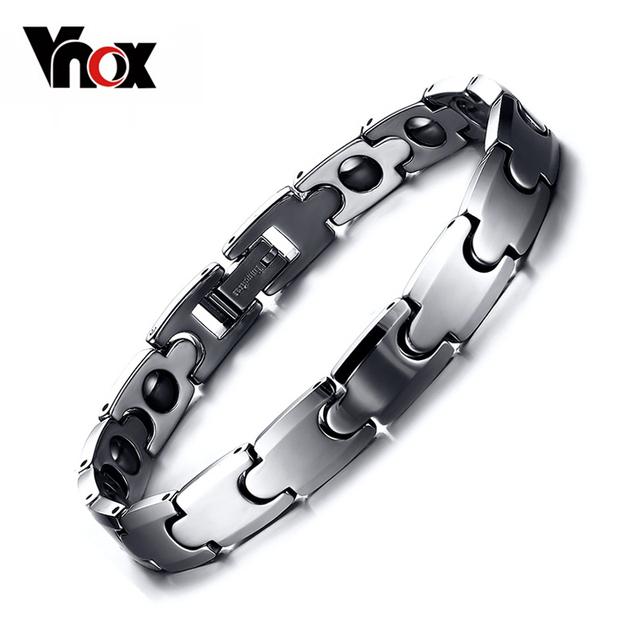 Vnox real pulseira pulseira de tungstênio hematita saúde casais jóias top quality