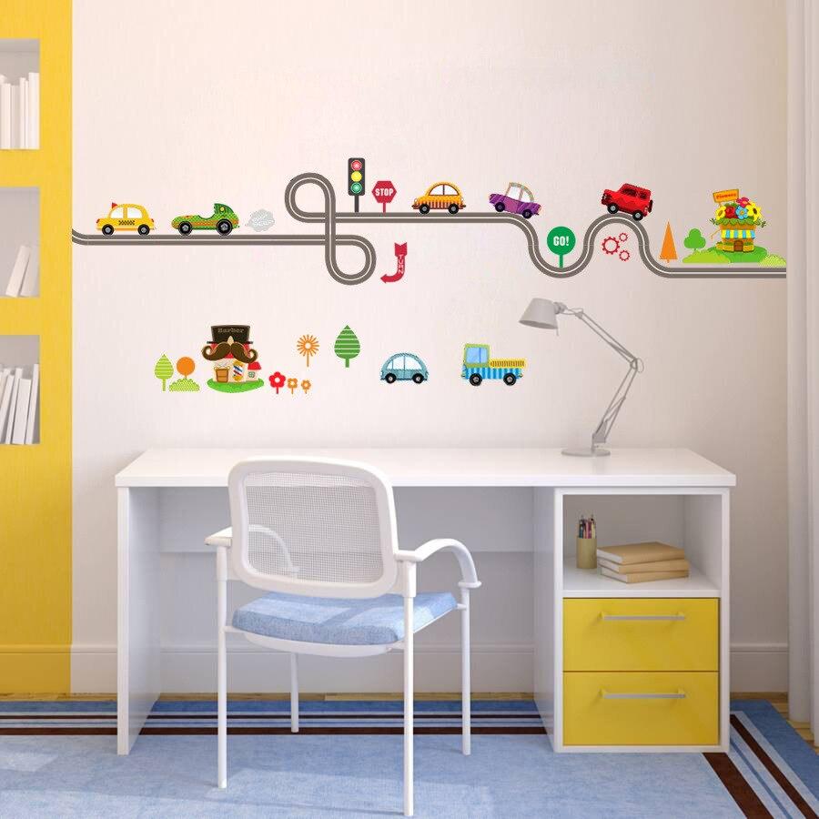 * cartoon bus truck cars road Traffic roadlines living room kids room wall stickers Customizable Door stickers boys DIY gift
