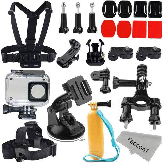 Аксессуары Комплект Для Xiaoyi 4 К II Водонепроницаемый Корпус Чехол + Ремень на Голову + Нагрудный ремень Ручки Действий Камеры Стартер комплект