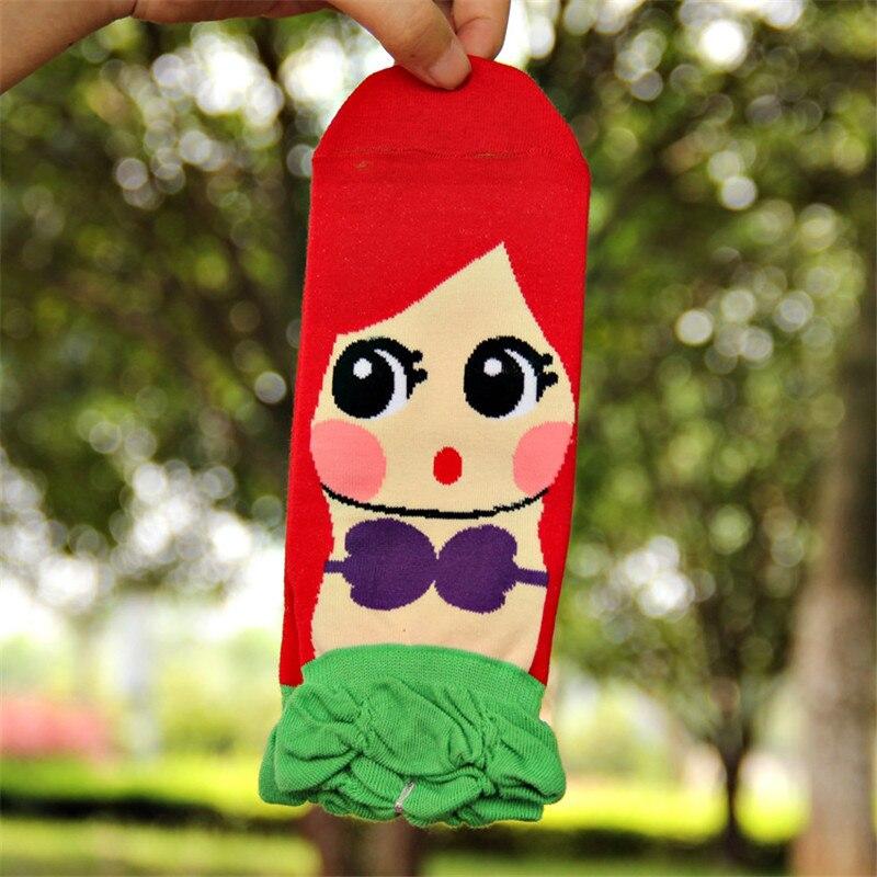 CRAZY FLY kawaii Summer Socks Women Girls Cartoon Cotton Ankle Socks Princess Anna Elsa Fiolla Jasmine Mermaid Ladies Tube Socks in Socks from Underwear Sleepwears