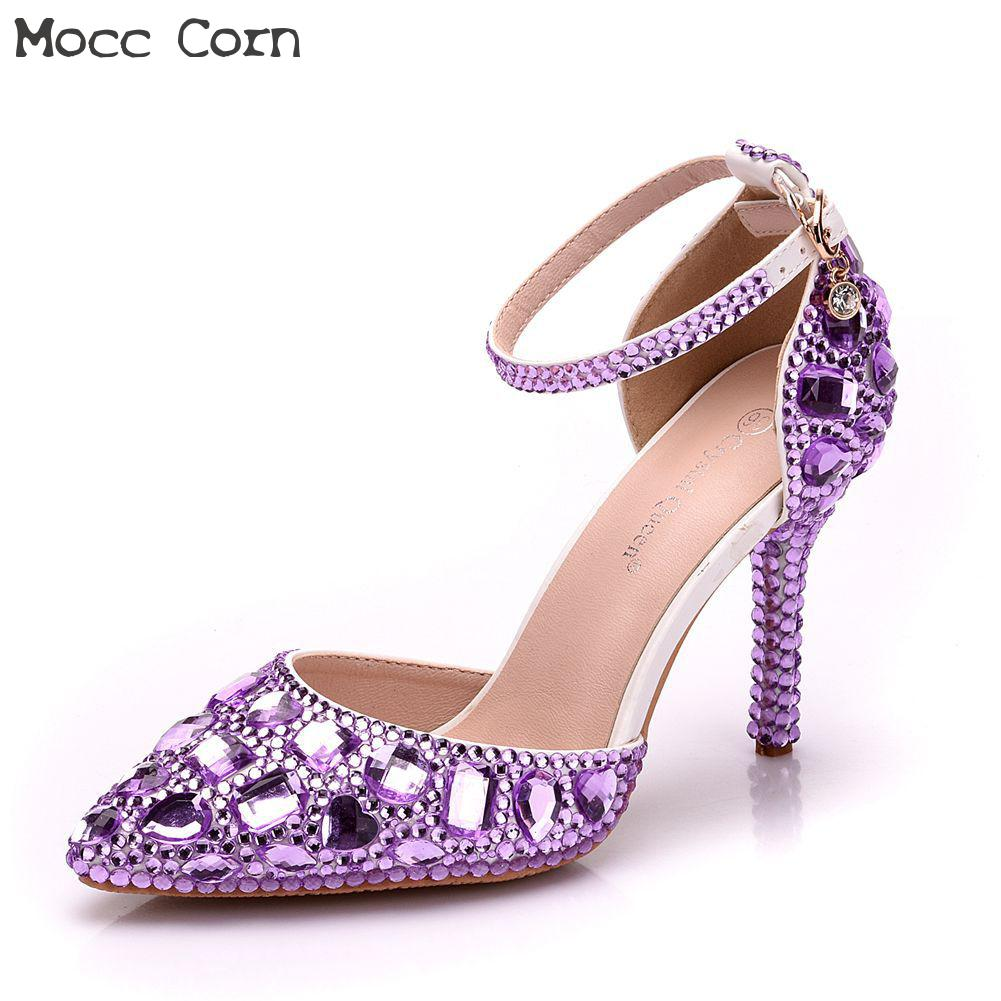 Wedding Shoes High Heels Pointed Toe Party Prom Shoes Crystal