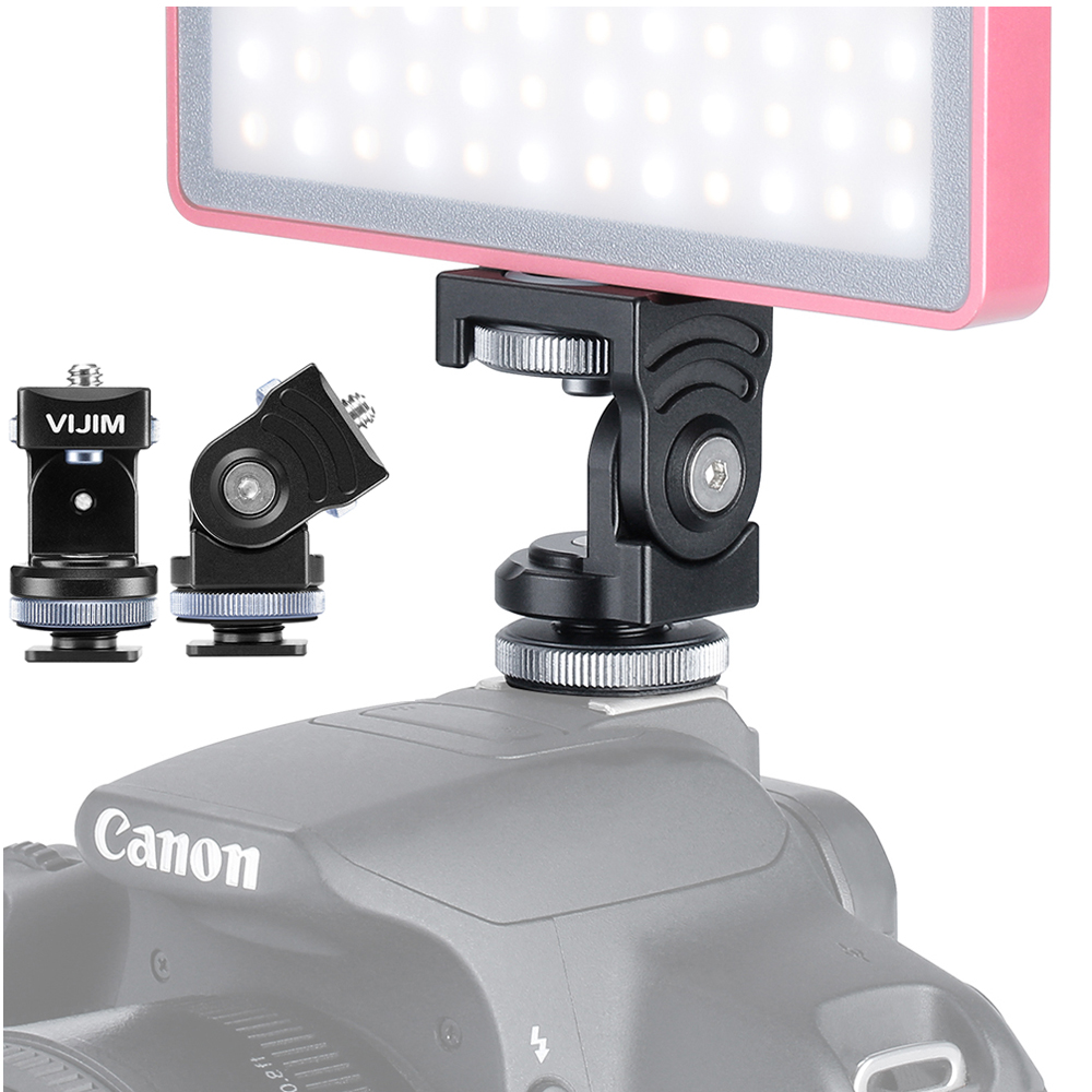 VIJIM Camera Head Strong Damping 360 Paranomic Ballhead with Cold Shoe Mount Bracket Holder for Filed Monitor light on camera image