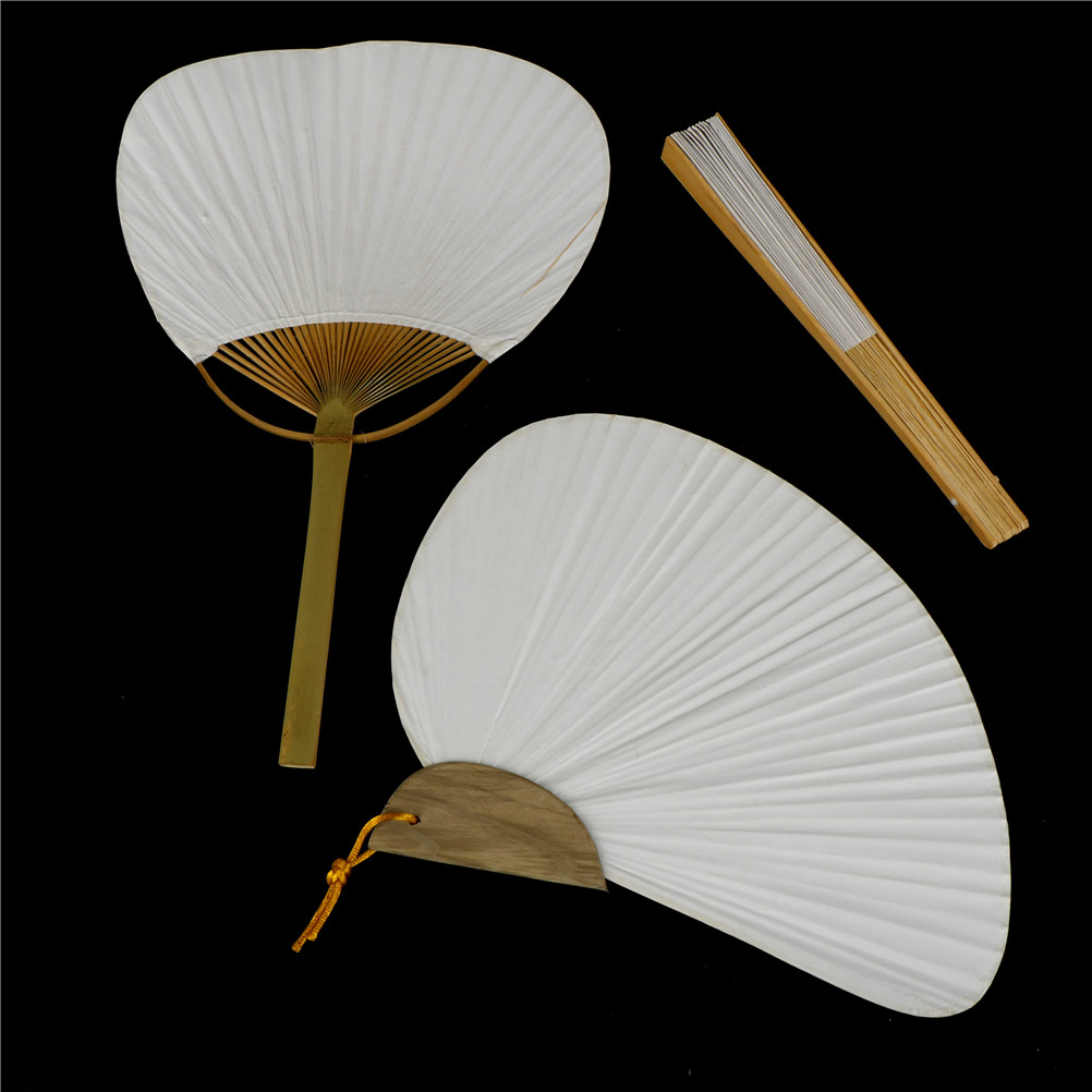 White Folding Elegant Paper Bamboo And Paper Hand Fan Wedding Party Favors