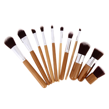11 Pcs Makeup Brush Set Bamboo Wood Fiber Brush Professional Makeup Brushes Set Eyebrow Eyeliner Powder Brushes Tools Maquiagem