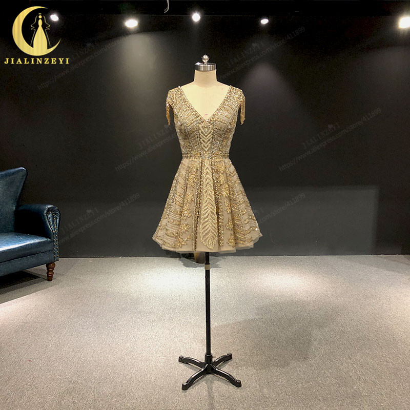 JIALINZEYI Real Sexy Luxurious Crystal Short Sleeves Beads Party Dress Knee Length Hot Sale Formal Dresses Prom Dresses