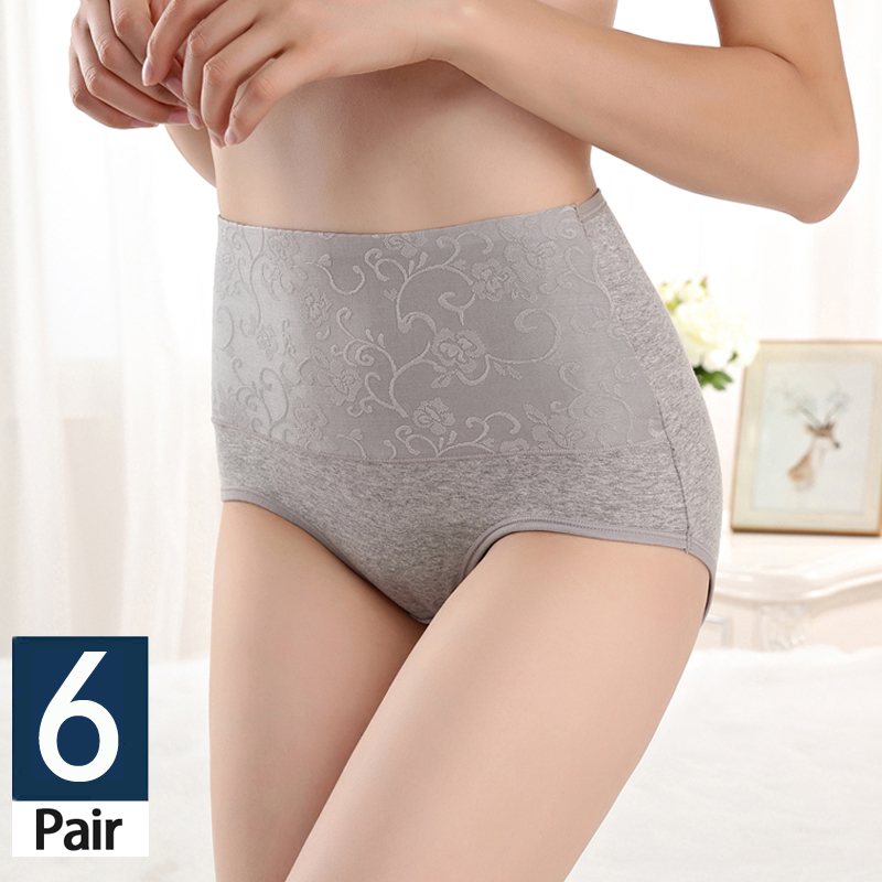 6 Pcs/lot lace   panties   fashionable Women's cotton   panties   women high waisted briefs Breathable large size lingerie sexy   panties
