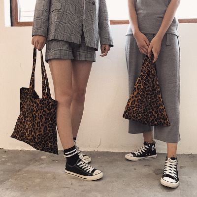 New Leopard Print Ladies Womens Shopping Bag Soft Foldable Shoulder Shopping Tote School Bag Handbag Beach Bag Free shipping