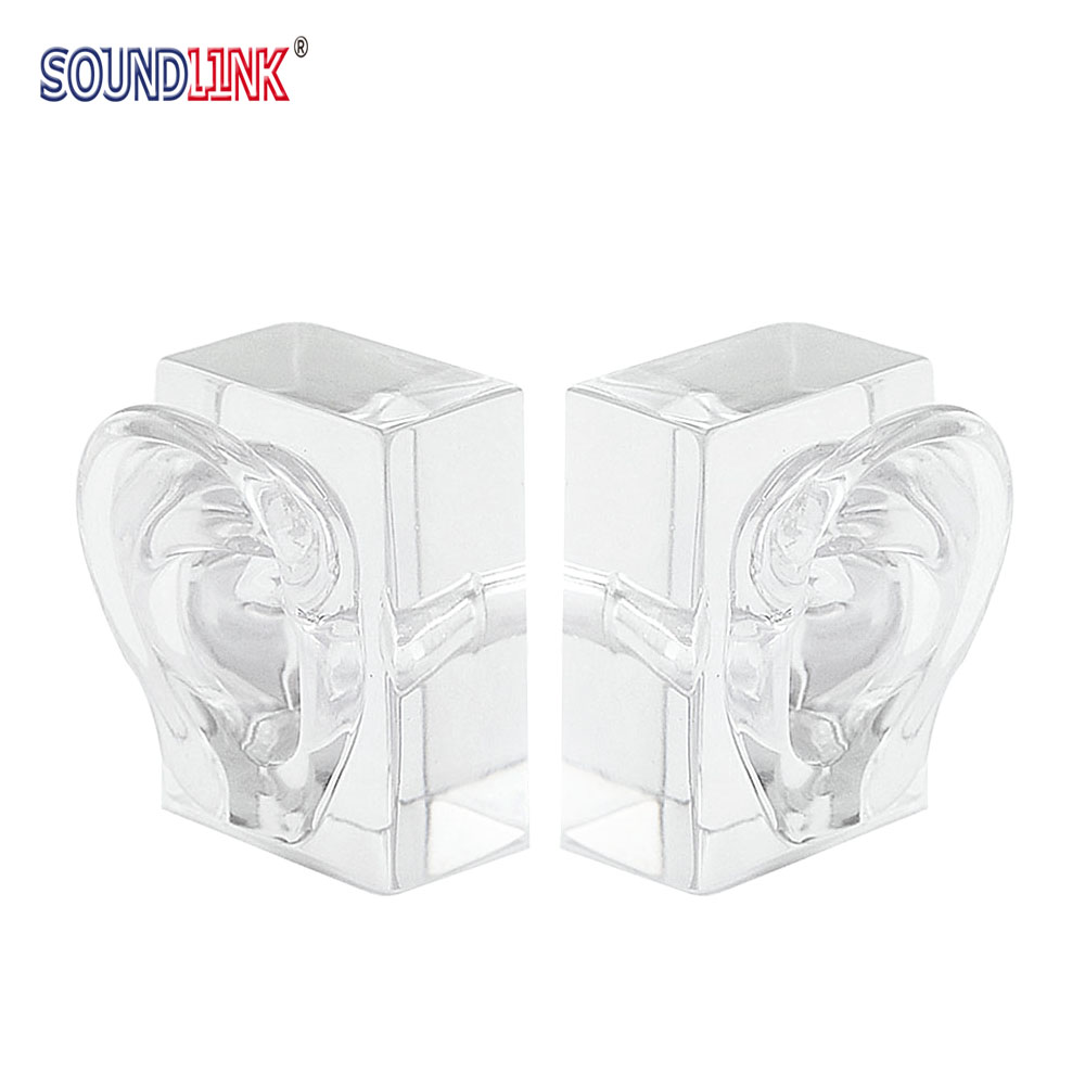 1pair Clear Acrylic Ear Model Demo Ear Mold for Hearing Aid Display and Ear Impression Taking