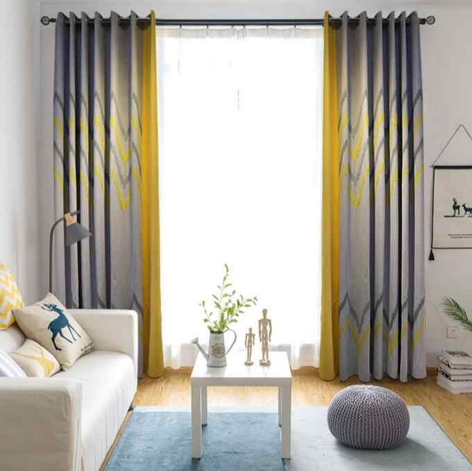 European North Style Splice Embroidered Linen Curtains For Bedroom Imitation Gray Yellow Geometric Curtains For Living Room