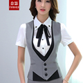 Women Work wear suit vest patchwork waistcoats spring autumn summer plus size professional elegant ol formal vest coat 4 colors