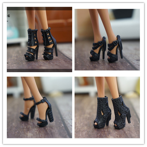 New Arrive High Quality Original 1 Pair Doll Shoes 1/6 Fashion Sandals Doll Black Boots For Barbie Doll Shoes 1/6