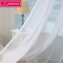 MISSION Cheap White Semi Sheer Window Elegance Curtains Drape Panels Voile Curtain Tulle Treatment for Bedroom Living Room