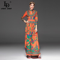 High Quality New 2017 Fashion Designer Runway Maxi Dress Women S Long Sleeve Floral Print Ethnic