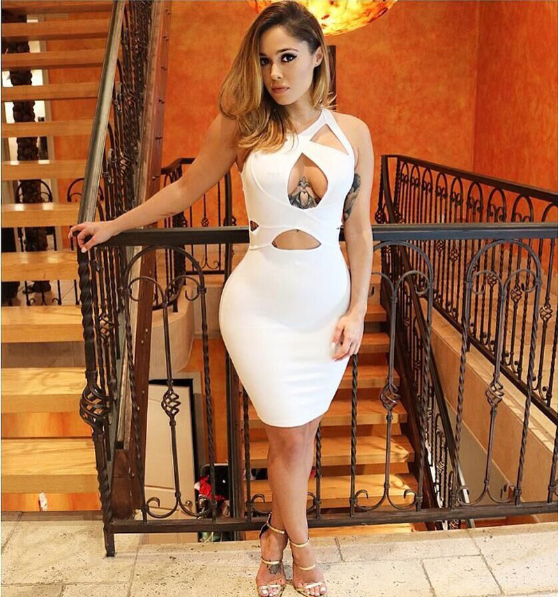 Sexy White Bandage Bodycon Kim Kardashian Big Ass Dress -1364