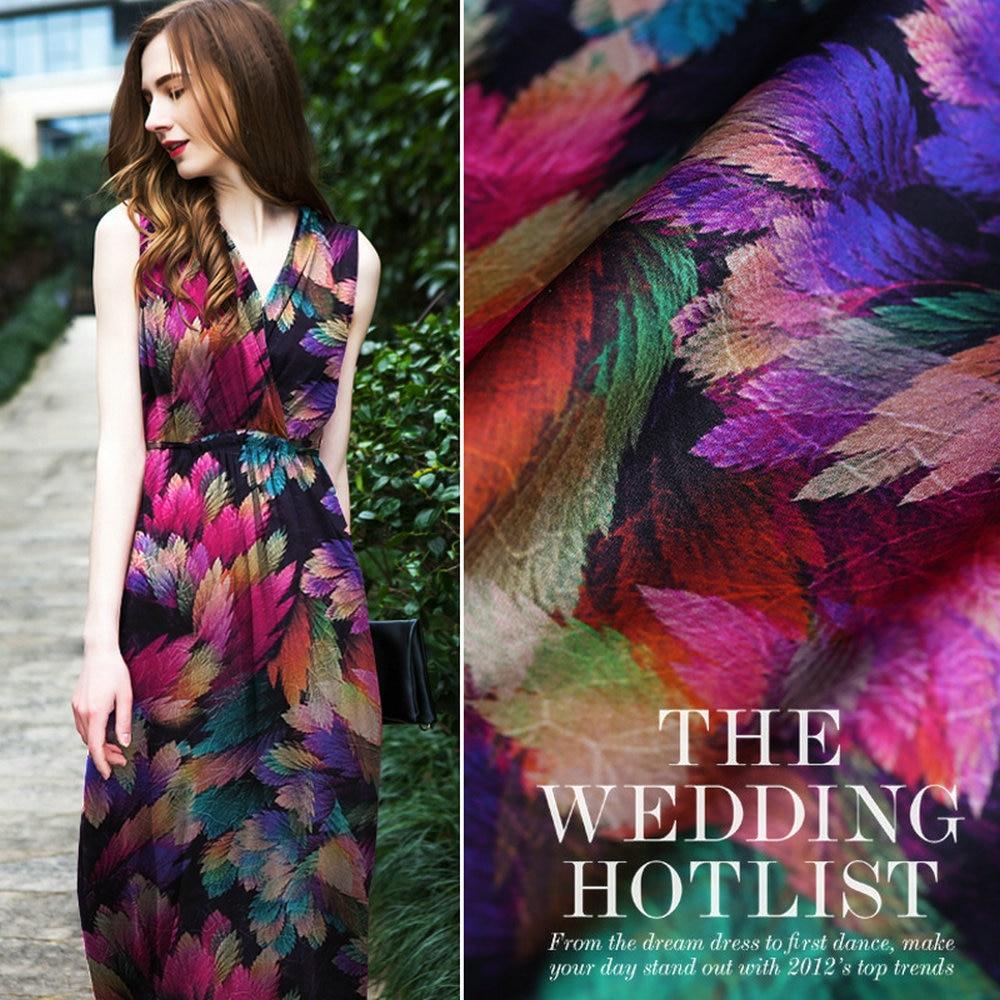 Top Design Digital Printing Elastic Silk Satin Gambiered Guangdong Gauze Fabric