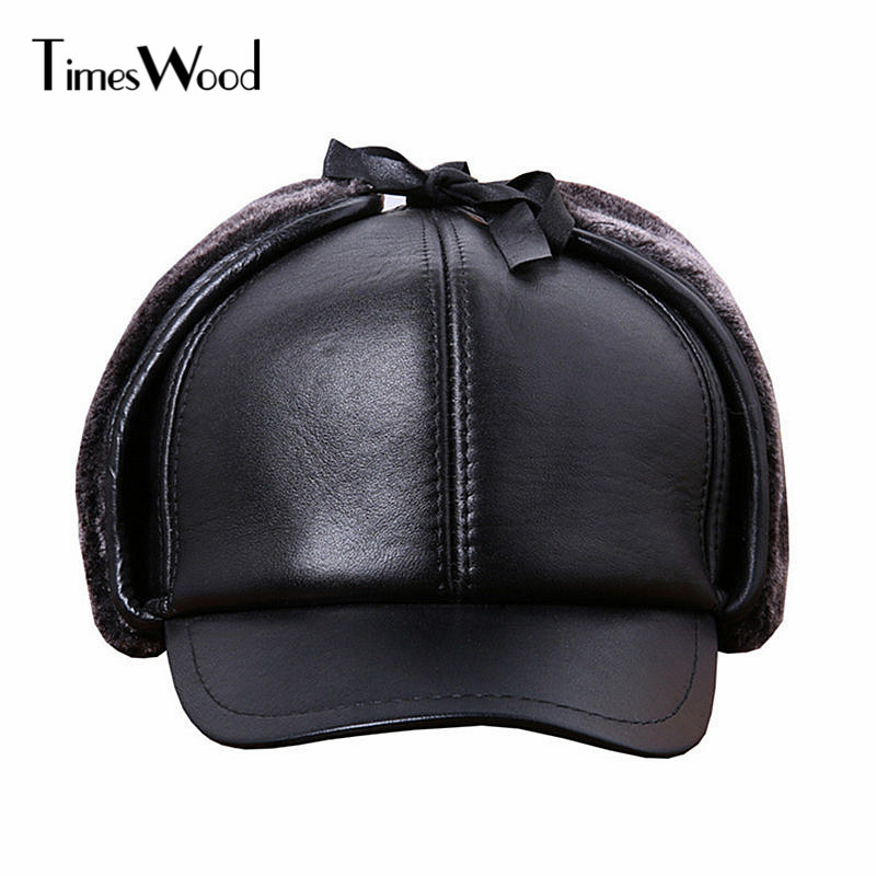 [TIMESWOOD] Earflaps Leather Cap Genuine Leather Russian Winter Warm Baseball Caps Real Cowskin Ear Hats For Men Women Bones ht647 warm winter leather fur baseball cap ear protect snapback hat for women high quality winter hats for men solid russian hat