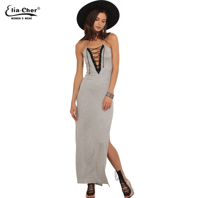 22eadf16db825 Lace up Maxi Dress In Grey Womens Summer Plus Size Sexy SLim Dresses Casual  Party Fitted Bodycon Pencil Dress Vestidos 8450
