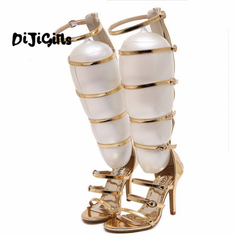 2017 fashion wedding party bridal knee high summer boots strappy gladiator  roman sandals cage open toe ee32dad8f8c8