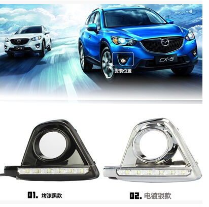 ФОТО Fit for Mazda CX-5 CX5 2013 2014 2016 DRL Fog lights daytime running lights LED front lamps with ABS Chrome trim 2pcs per set