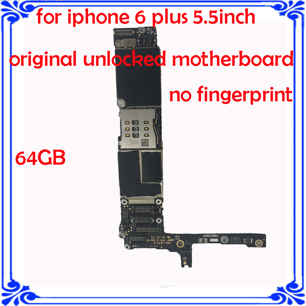 imágenes para Para el iphone 6 plus placa base no touch ID desbloqueo de Fábrica para iphone 6 plus placa principal 64 GB original de la placa lógica placa del sistema IOS