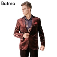 Batmo 2017 new arrival autumn England Style fashion velvet wine red casual suits men,print jacket men,plus size M XXXL 823