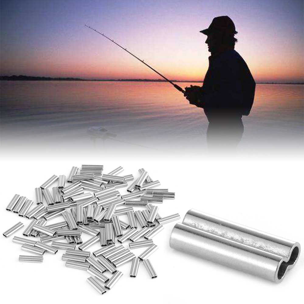 100PCS Portable Oval Silver Double Copper Swivel Tube Line Crimping Sleeves Tube Connector Outdoor Fishing Wire Tube Accessories