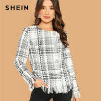 SHEIN Black and White Weekend Casual Button Up Frayed Edge Tweed Coat Women 2018 Autumn Single Breasted Round Neck Outerwear