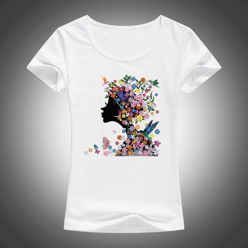 summer fashion t shirt women beautiful flowers printed high quality Elastic cotton short sleeve tops tees camiseta F32