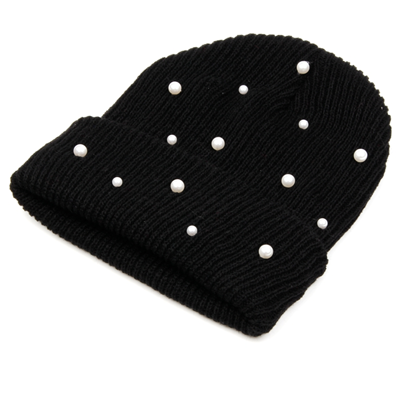Hot Sale Knitted Winter Hats Women Cotton Pearl Beanie Ladies Warm Skullies Hats Men Solid Color Unisex Cap Gorros Bonnet