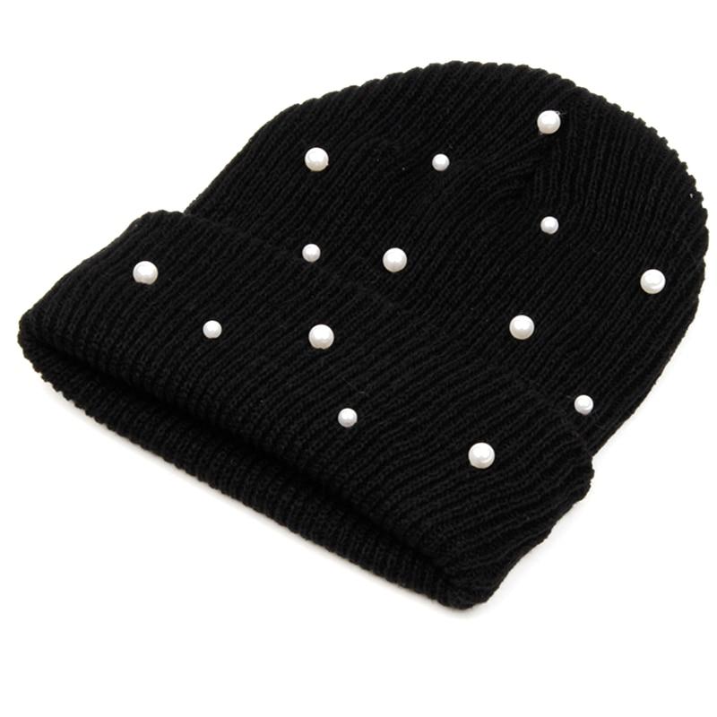 Hot Sale Knitted Winter Hats Women Cotton Pearl Beanie Ladies Warm Skullies Hats Men Solid Color Unisex Cap gorros bonnet