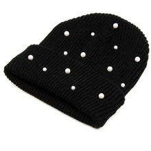8c4bf4d269377 Hot Sale Knitted Winter Hats Women Cotton Pearl Beanie Ladies Warm Skullies  Hats Men Solid Color Unisex Cap gorros bonnet. US  3.56   piece Free  Shipping