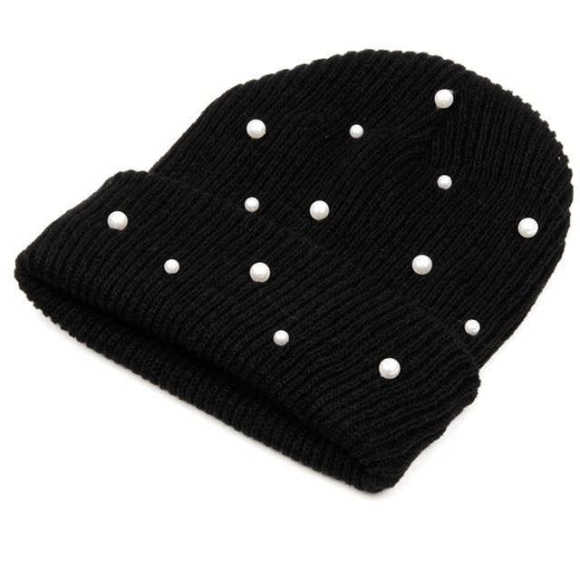 Venda quente Malha Chapéus de Inverno Mulheres Algodão Pérola Senhoras Gorro  Skullies Quentes Chapéus Homens Cor 3033bd04392