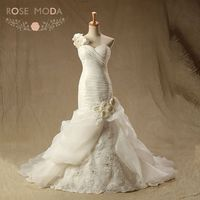Rose Moda Organza Mermaid Wedding Dress Pyper 3D Flower Một Vai Cộng Với Kích Thước Wedding Dresses Ren Lên Trở Lại