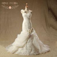 Rose Moda Organza Mermaid Wedding Dress Pyper 3D Flower One Shoulder Plus Size Wedding Dresses Lace Up Back