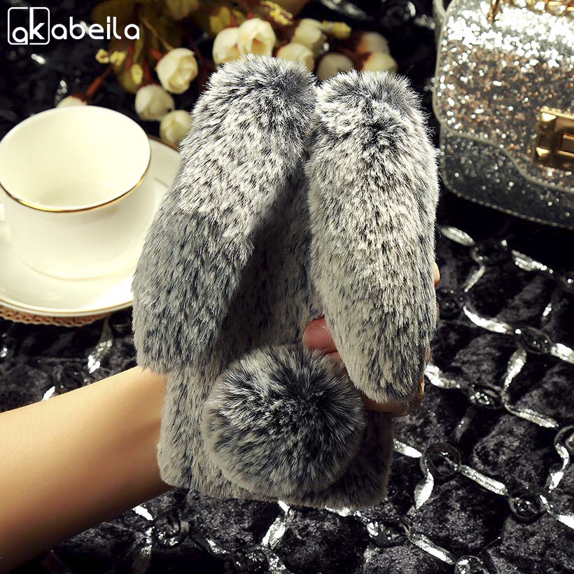 AKABEILA Luxury Rabbit Fur Case For Huawei Honor 6C Pro Case Silicon Soft TPU Bling Case ...