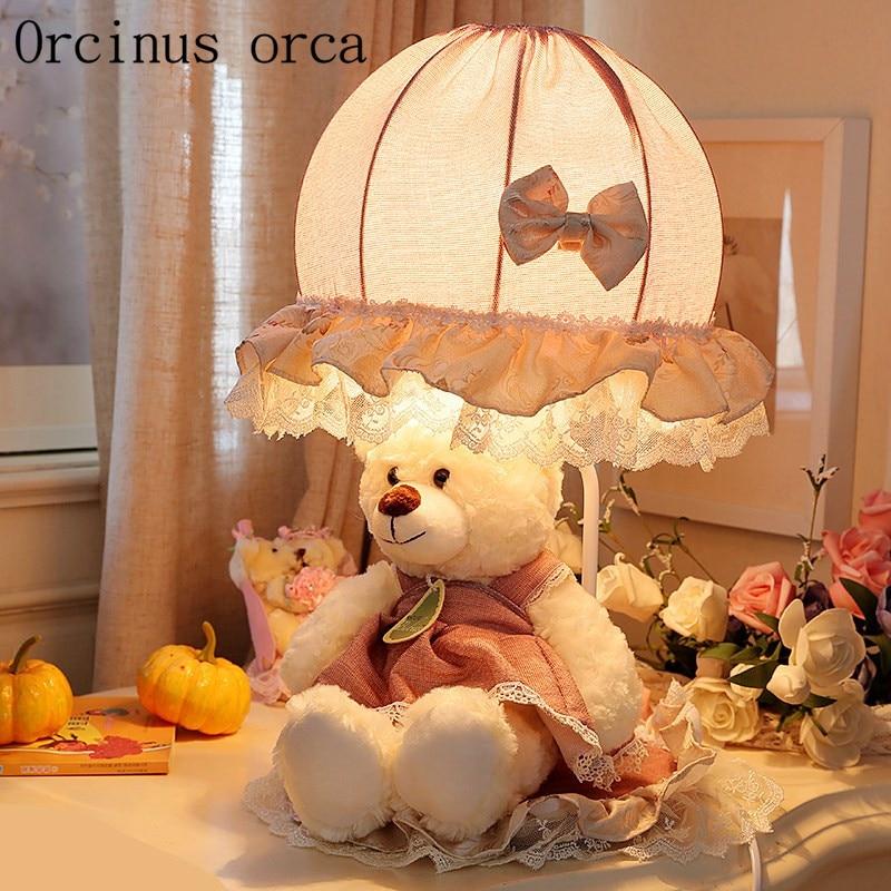 Cartoon creative Princess bear desk lamp the girls room children bedroom bedside lamp cute lace table lamp free shipping стоимость