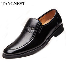 Tangnest 2017 New Men's Dress Shoes Split Leather Oxfords Casual  Round Toe Low Heels Shoe Male Slip-On Business Shoes XMP332