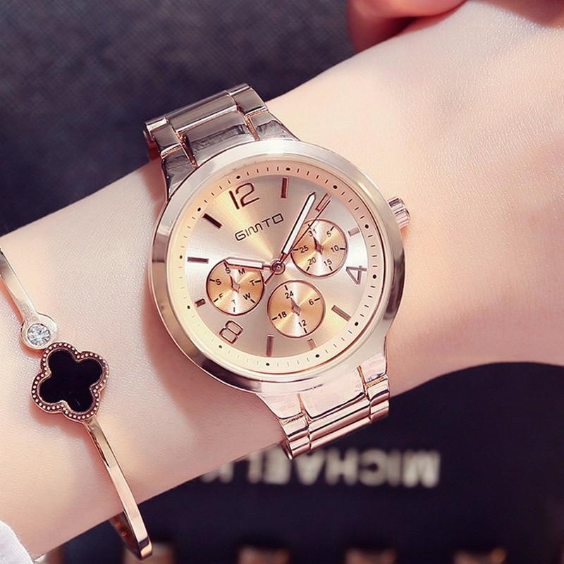 GIMTO Brand Dress Women Watches Steel Luxury Gold Lovers Bracelet Wristwatch Clock Business Quartz Ladies Watch Relogio Feminino