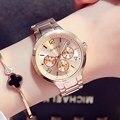 Gimto 2017 mulheres vestido relógios completa aço ouro rosa pulseira de quartzo das senhoras do relógio de pulso do negócio assista montre relogio feminino