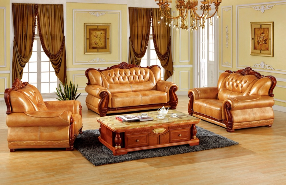 Luxury European Leather Sofa Set Living Room Furniture Made In China Sectional Sofa Wooden Frame