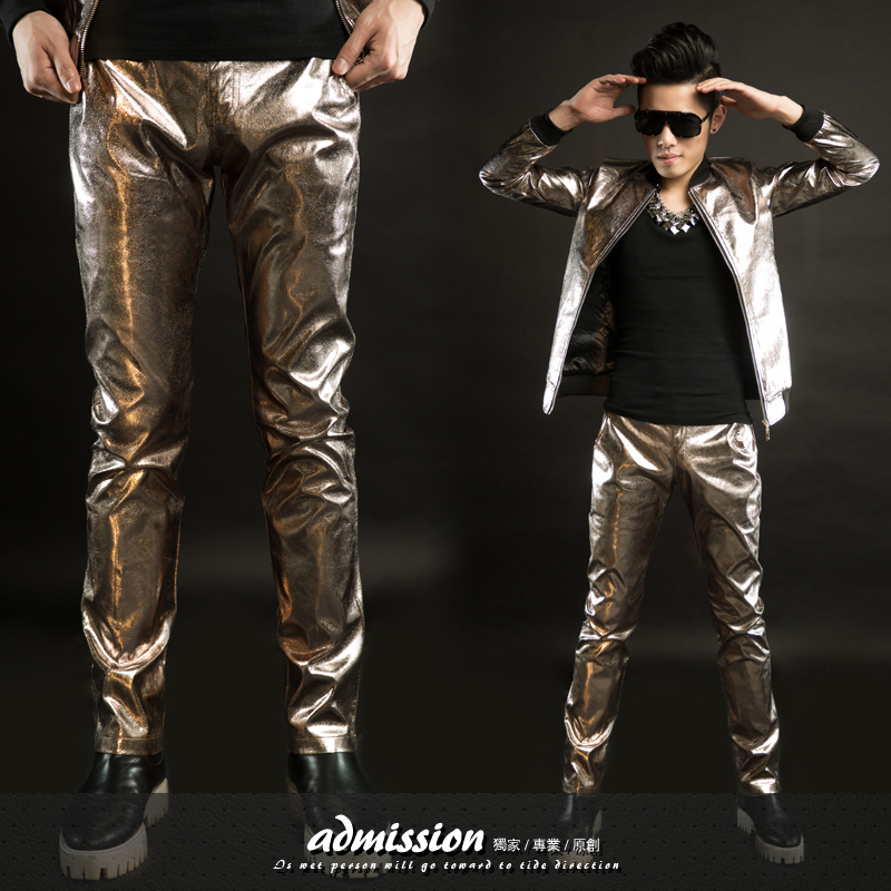 2015 New fashion Male Paillette leather Punk Casual pants costumes male dj singer trousers