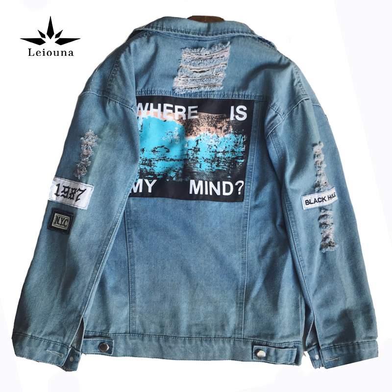 Leiouna Denim Broken BF Loose Letter Jaquetas Casaco Feminina Jeans Female Bomber Jackets Chaqueta Favourite Bomberjacke