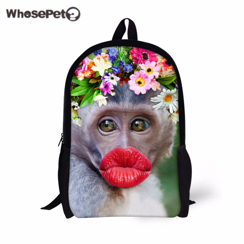 Whosepet Women Bag Animal Prints School Bags For Children Girls Cutes Small Red Lip Monkey Printing Bags For Student Bookbag School Bags