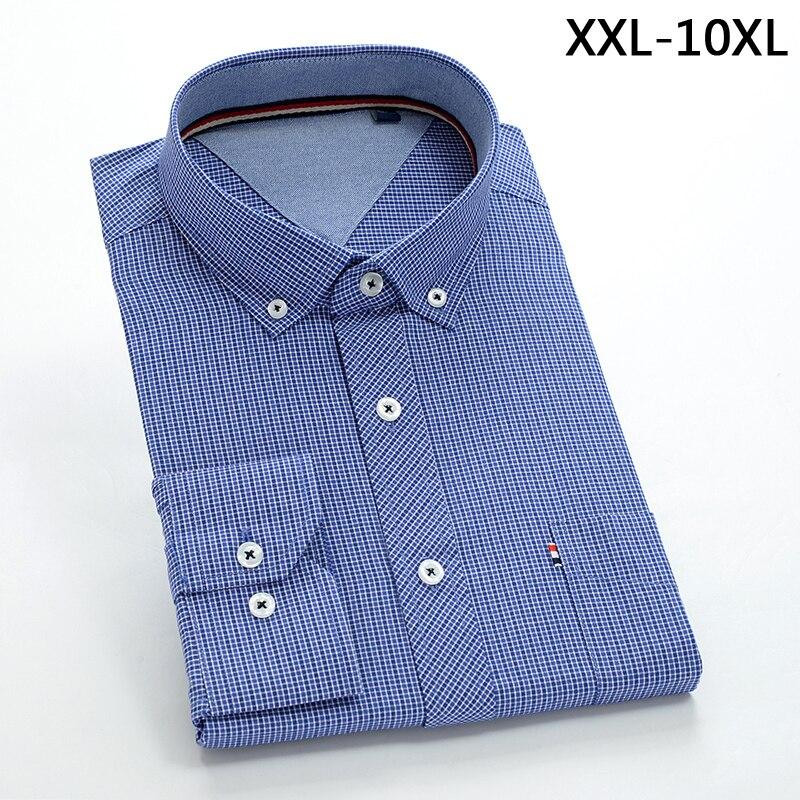 2018 New Comming Mens Long Sleeve Cotton Shirts Formal Dress Shirts Very Big Large Plus Size Xxl-4xl 5xl 6xl 7xl 8xl 9xl 10xl Easy To Lubricate