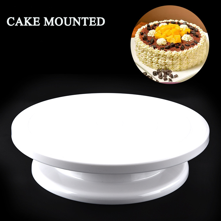 BEEMSK Plastic Cake Stand cake turntable can manually rotate round plastic cake turntable DIY flower turntable baking tools