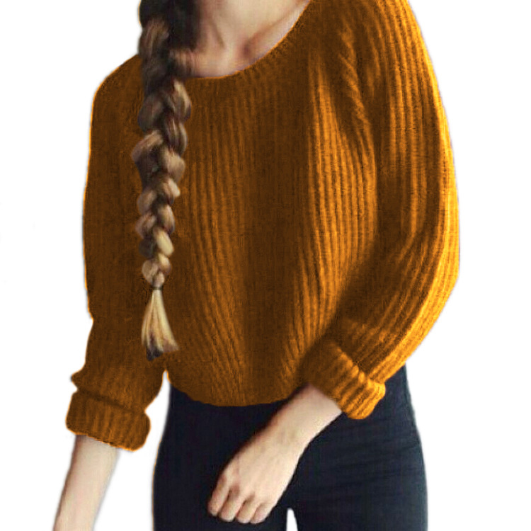 2019 autumn winter hot sale basic women sweaters computer knitted solid three quarter pullovers o-neck female fashion sweaters