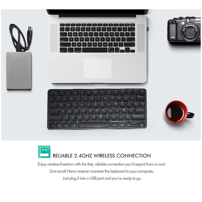 B.O.W プレミアムスリム金属 2.4 Ghz ワイヤレスキーボード、洗練された & 充電式、プラグアンドプレイコンピュータのデスクトップ、ノートパソコンの usb ポート
