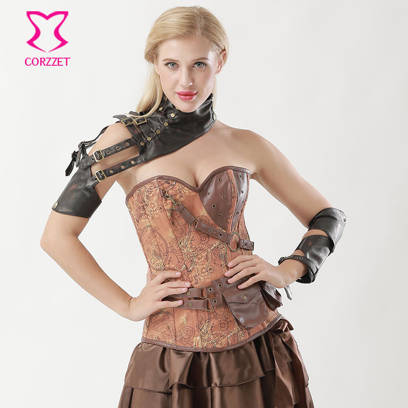Brown Leather One Shoulder Belt Buckle Punk Rock Women Cosplay Arm Armor Vintage Arm Sleeve Steampunk Corset Gothic Accessories