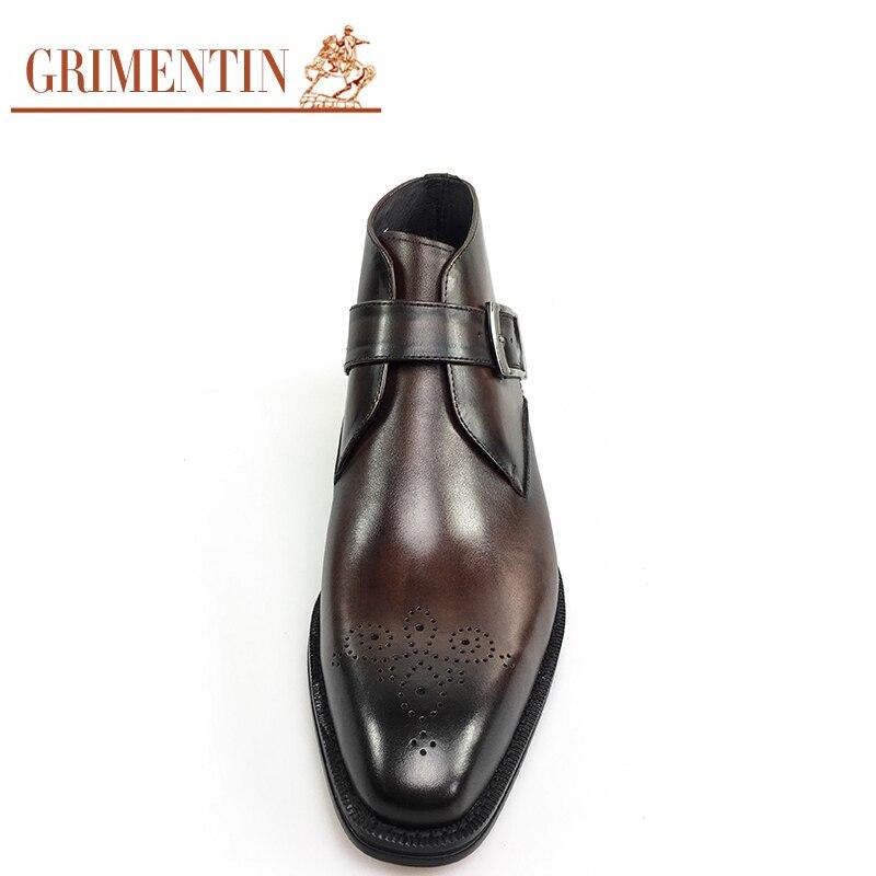 Cuero Tobillo Black Estilo Retro Tallado Hombres A Mano Genuino Nuevo Zapatos Hecho brown Lujo Italia Formal Diseñador Botas Negocios Mens De XdHqwxCq0